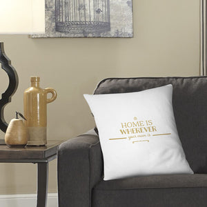 Home Is Wherever Mum Is Cushion Pillow Quote Mother's Day Unique Gift Idea EM223