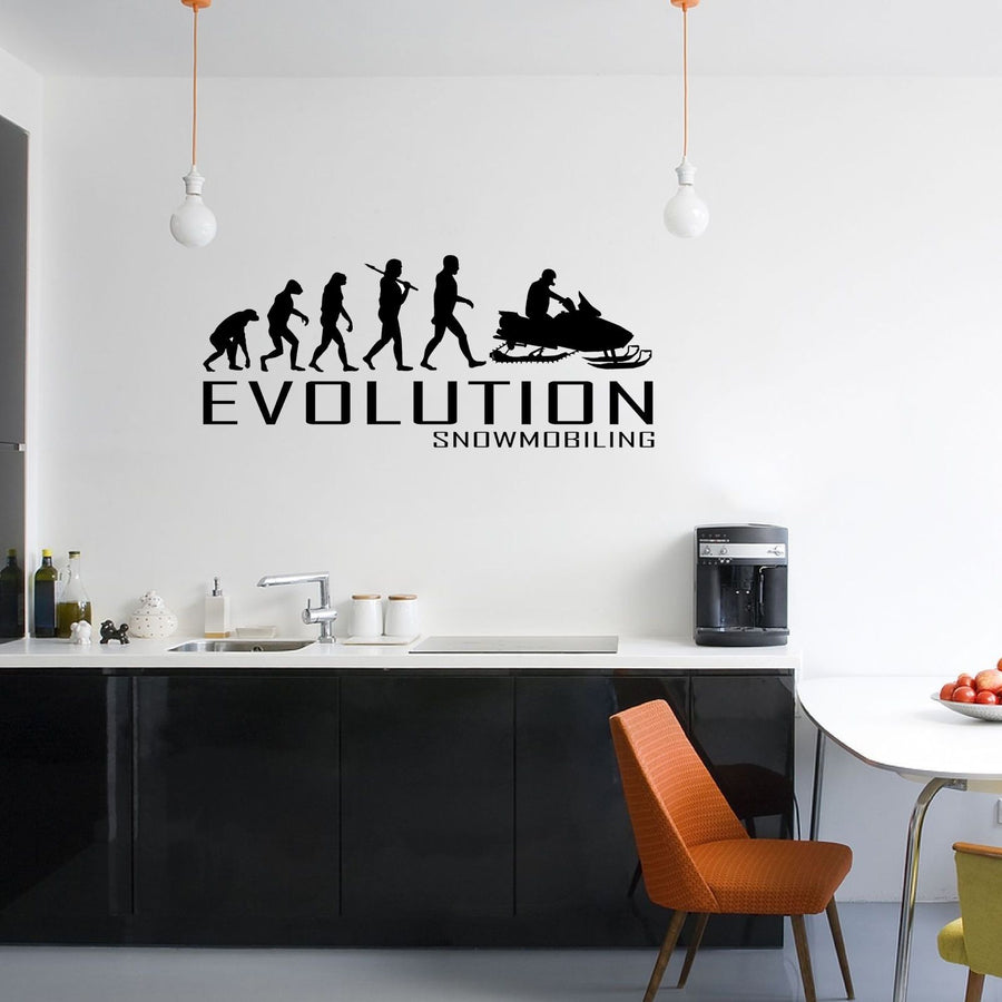 Evolution Of Snowmobiling Wall Sticker Vinyl Decal Decors Art Snowmobile Snow