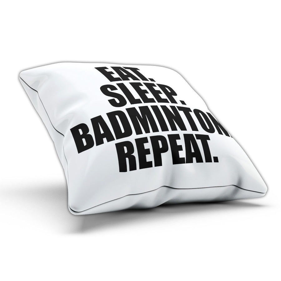 Eat Sleep Badminton Pillow Cushion Pad Cover Case Bed Sport Racquet Shuttlecock