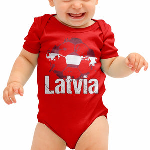 Latvia Football Shirt Latvijas Latvian Baby Grow Romper Suit Babygrow Gift B40