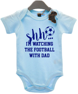 Shh I'm Watching The Football With Dad Baby Grow Vest Funny Gift Present EBG36
