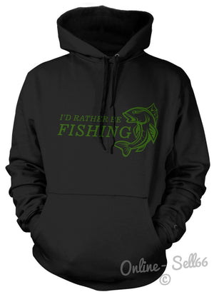 I'D RATHER BE FISHING HOODIE HOODY GIFT PRESENT MENS DAD KIDS CARP SEA RIVER NEW