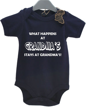 What Happens At Grandmas Stays Baby Grow BabyGrow Present Cute Unisex Birthday