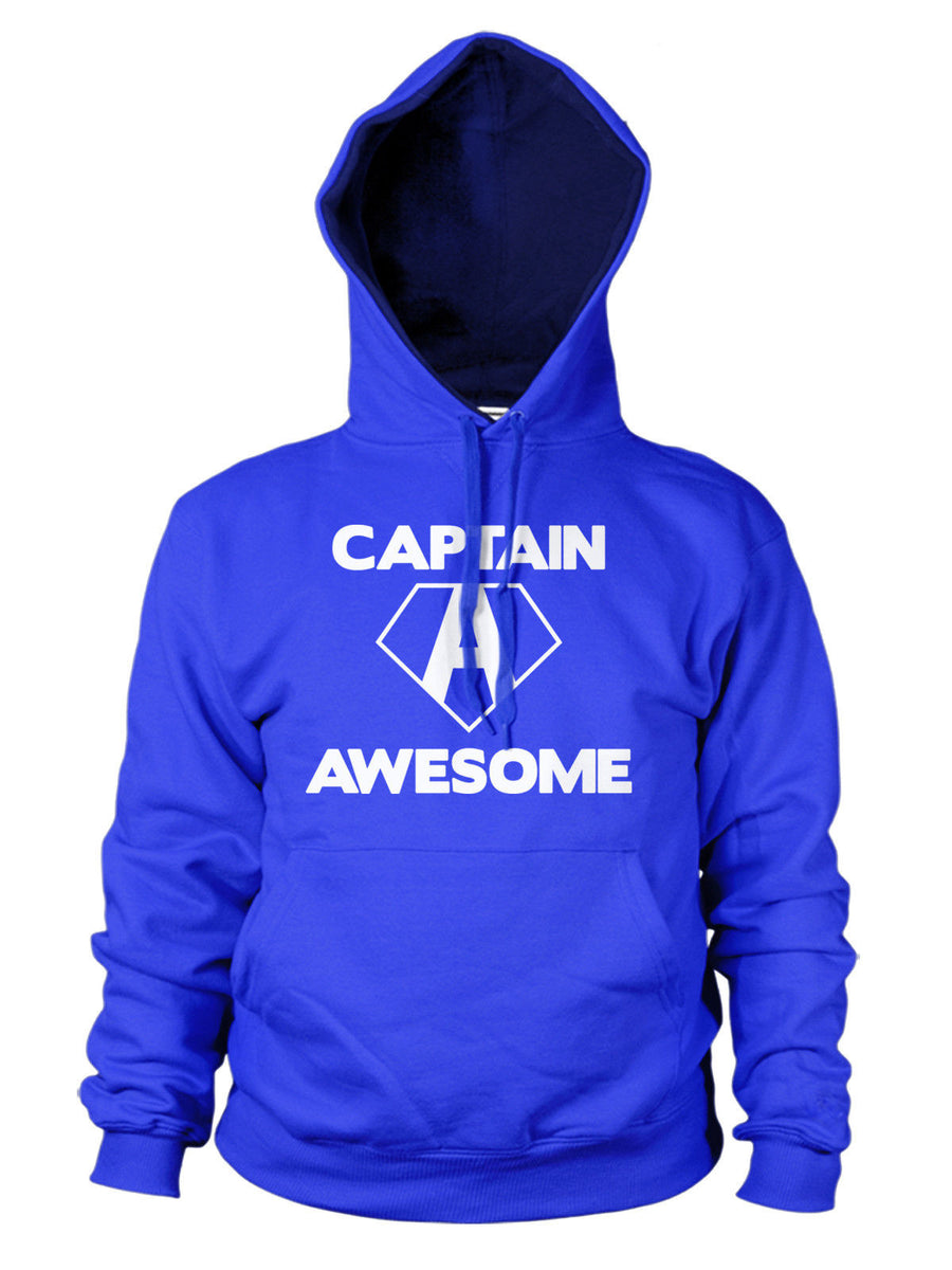 Captain Awesome Funny Hoodie Hoody Mens America Womens Kid Superhero Geek