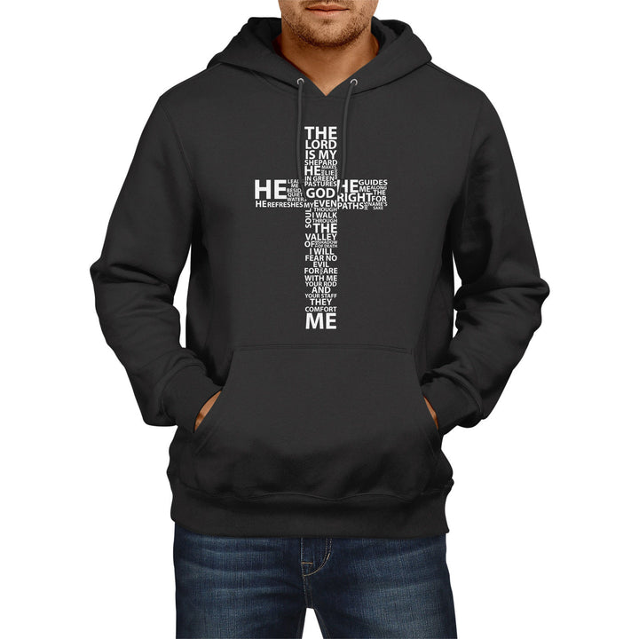 Bible Quote Lord Is My Shepherd Mens HOODIE Womens Jesus Cross Hoody Church E18