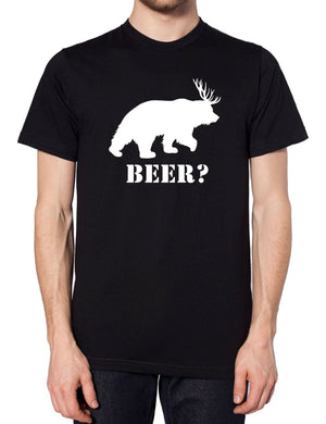 Beer? T Shirt Bear Deer Tee Funny Men Antlers Women St Patricks Day Slogan, Main Colour Black