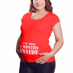 9 Months Inside Maternity T Shirt Pregnant Ladies Top Tshirt Baby Shower Gift M3