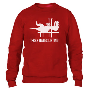 T Rex Hates Lifting Funny Mens Sweatshirt T-Rex Push Ups Sweater Dinosaur Jumper