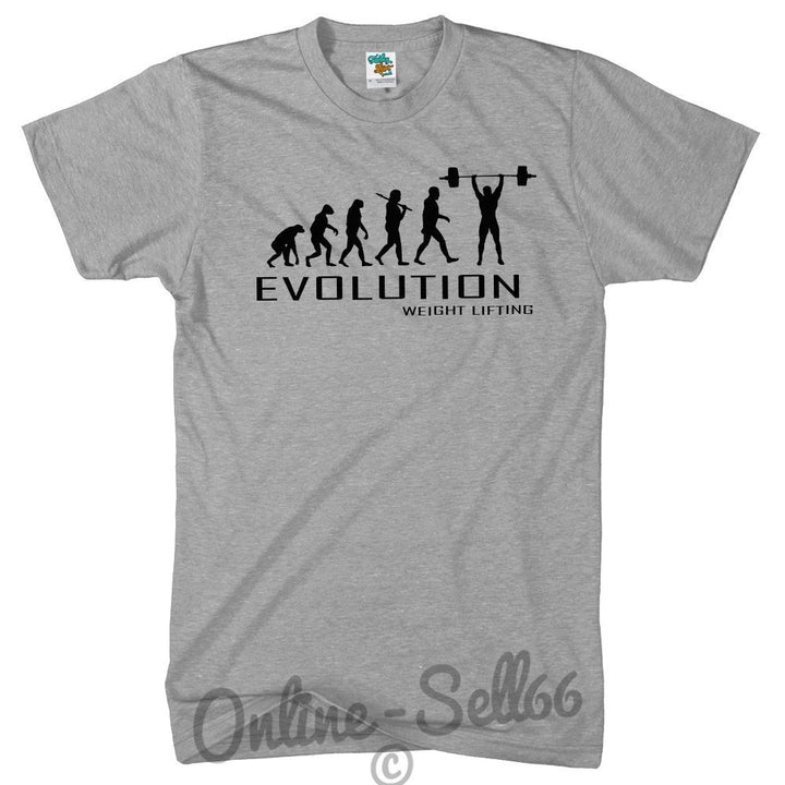 Weight Lifting Evolution T Shirt Mens Womens Present Top Sports Gym Train Strong, Main Colour Sport Grey