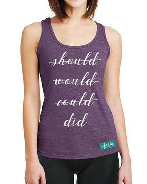 Should Would Could Did AUBERGINE Womens Gym Vest Racer Back Motivation Fit U25