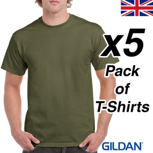 Mens Military Green T Shirt 5 Pack Gildan Heavy Cotton Tee Army Plain Cheap SAS