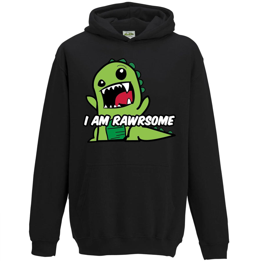 I Am Rawrsome Dinosaur Hoodie Boys Kids Funny T-Rex Cool Dude Dino Cartoon L81