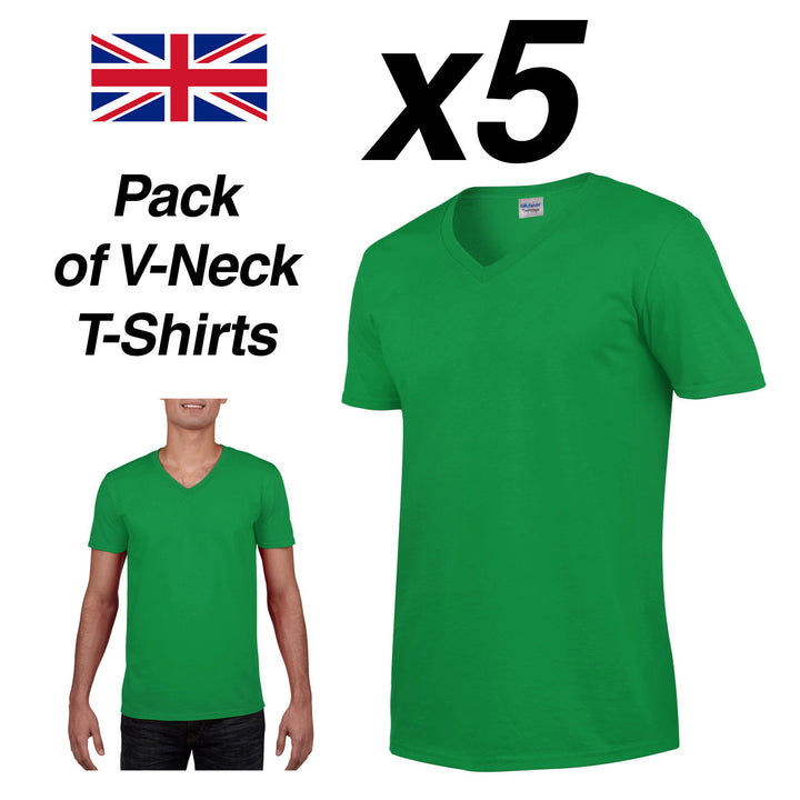 Mens IRISH GREEN V-NECK T SHIRT 5 Pack Gildan Cotton Man Top New Plain Cheap Tee