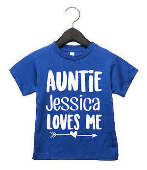 Auntie CUSTOM NAME Loves Me T Shirt Tops Children's Kids Cute Niece Nephew AS45