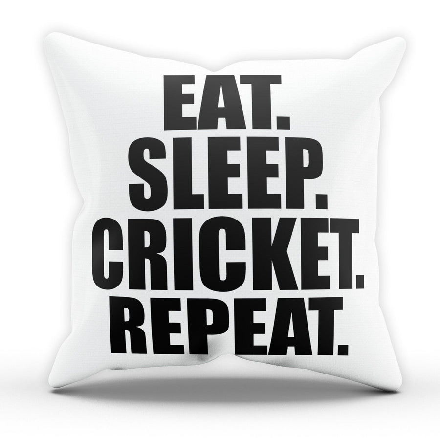 Eat Sleep Cricket Pillow Cushion Pad Cover Case Bed Cricketer Bat Bowl Sport