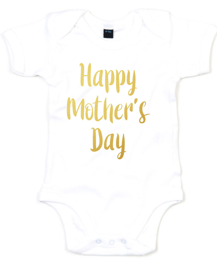 Happy Mothers Day Babygrow Clothing Baby Girl Boy GOLD PRINT New Cute Sizes L239