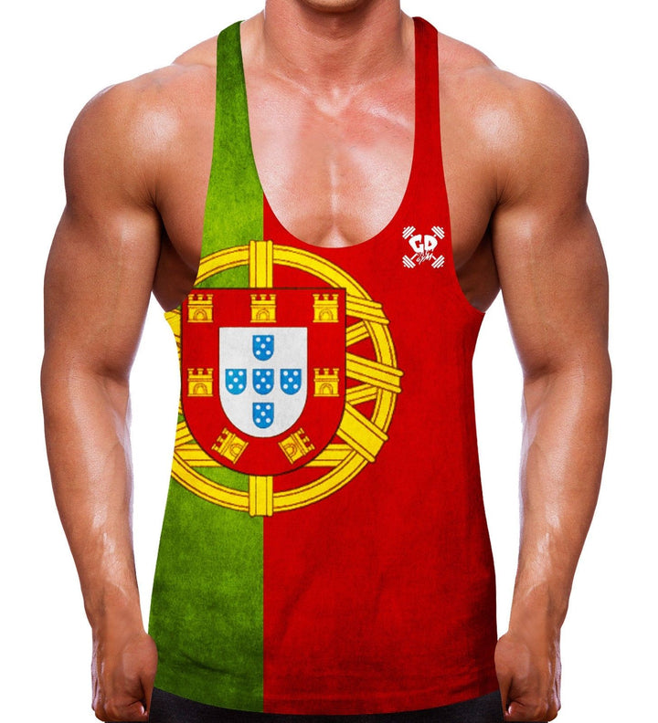 PORTUGAL FLAG WEIGHT LIFTING VEST STRINGER RACER BACK BODYBUILD MEN GYM TRAINING
