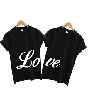 Love T Shirt Couples 2 PACK Matching Valentines Day Boyfriend Girlfriend Wife, Main Colour Black