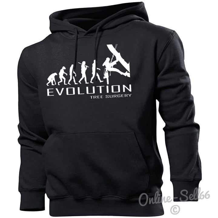 Tree Surgery Evolution Hoodie Mens Womens Kids Hoody Present Plants Eco Green, Main Colour Black