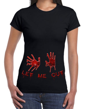 Bloody Let Me Out Black Halloween T Shirt Pregnancy Birth Mum To Be Blood Hands