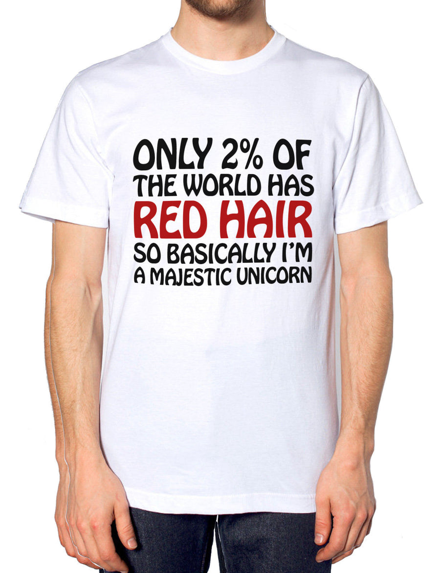 Only 2% World Red Hair Unicorn Funny Hipster T Shirt Men Women Tshirt Ginger