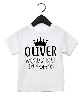 100a95bfa World s Best Big Brother CUSTOM NAME Toddler T Shirt Birthday New Baby Bro  AS8