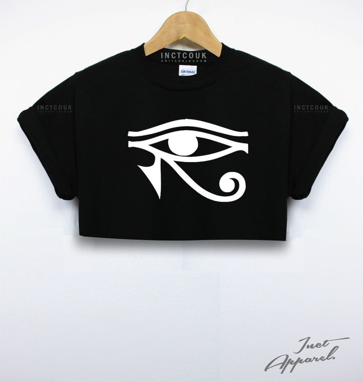 Egyptian Eye Crop Top T Shirt Religion Egypt Horse Rugged Girls Women Shop