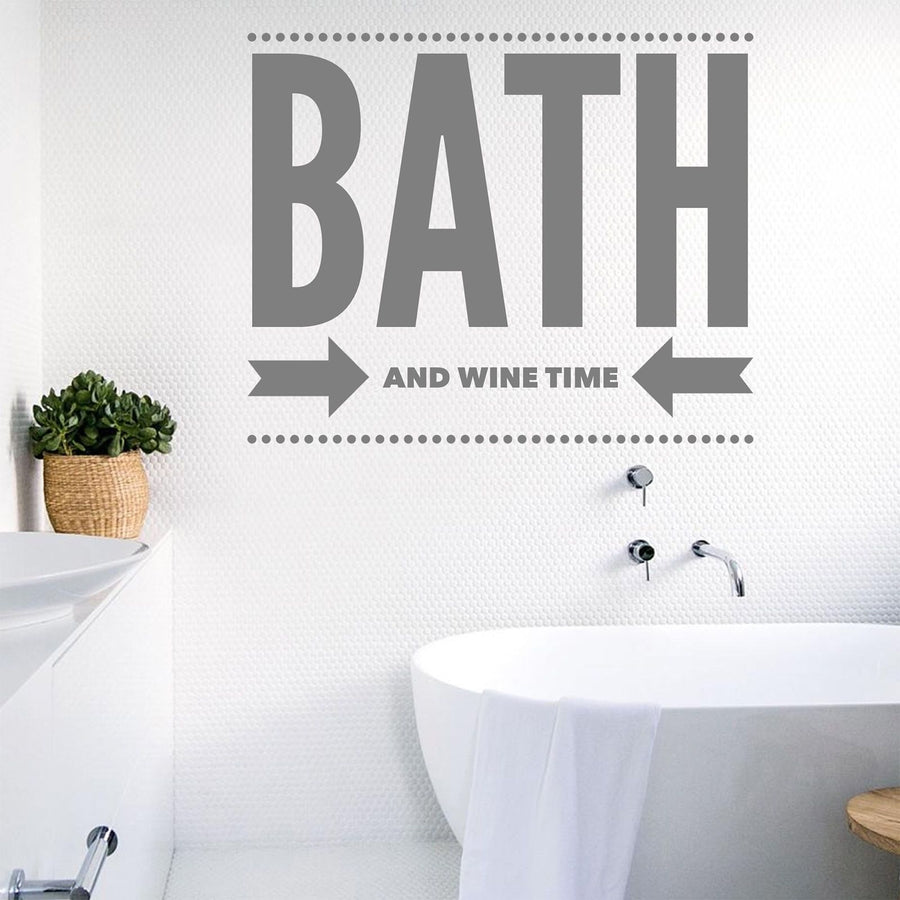 Bath And Wine Time Wall Sticker Vinyl Decor Bathroom Decal Bubbles Red Art W12