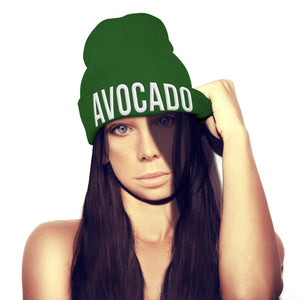 Avocado Beanie Hat Embroidery Womens Girls Mens Veg Fruit Healthy Recipe beenie