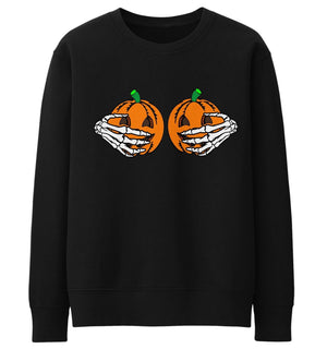 Pumpkin Boobs Skeleton Hands Sweater Halloween Jumper Funny Womens Men Kid Lady