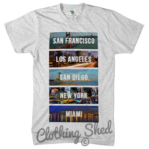 American Cities Mens Tshirt New York LA San Diego Miami Summer Holiday t Shirt