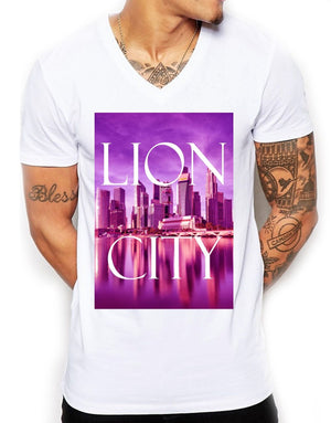 Lion City Distinkt Youth V Neck T Shirt Top Mens Fitted Summer EDY10