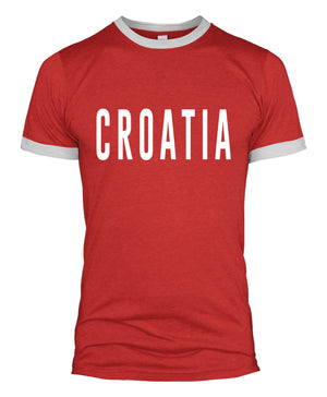 Croatia Text Slogan T Shirt Retro Style World Cup Supporter Football Men L254