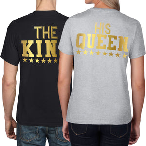 The King His Queen GOLD Matching Couples T Shirt Valentines Gift Wedding Top 866