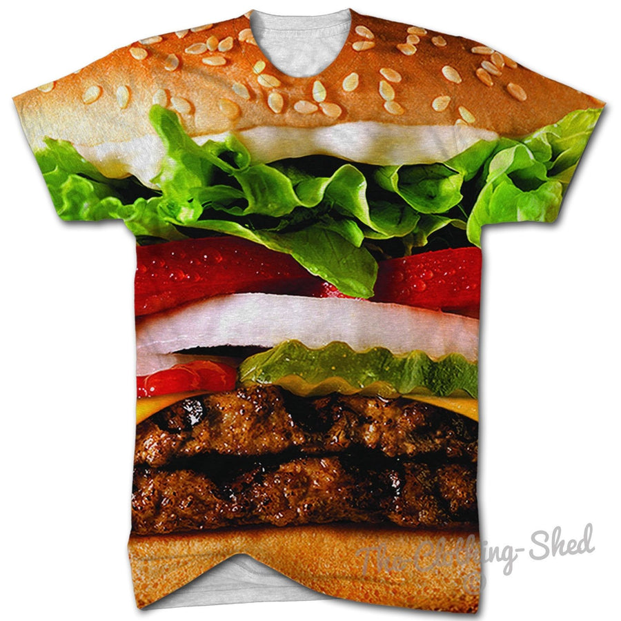 BURGER ALL OVER PRINT T SHIRT MAN BEEF KING FULL FOOD FASHION SWAG MEN GIRL