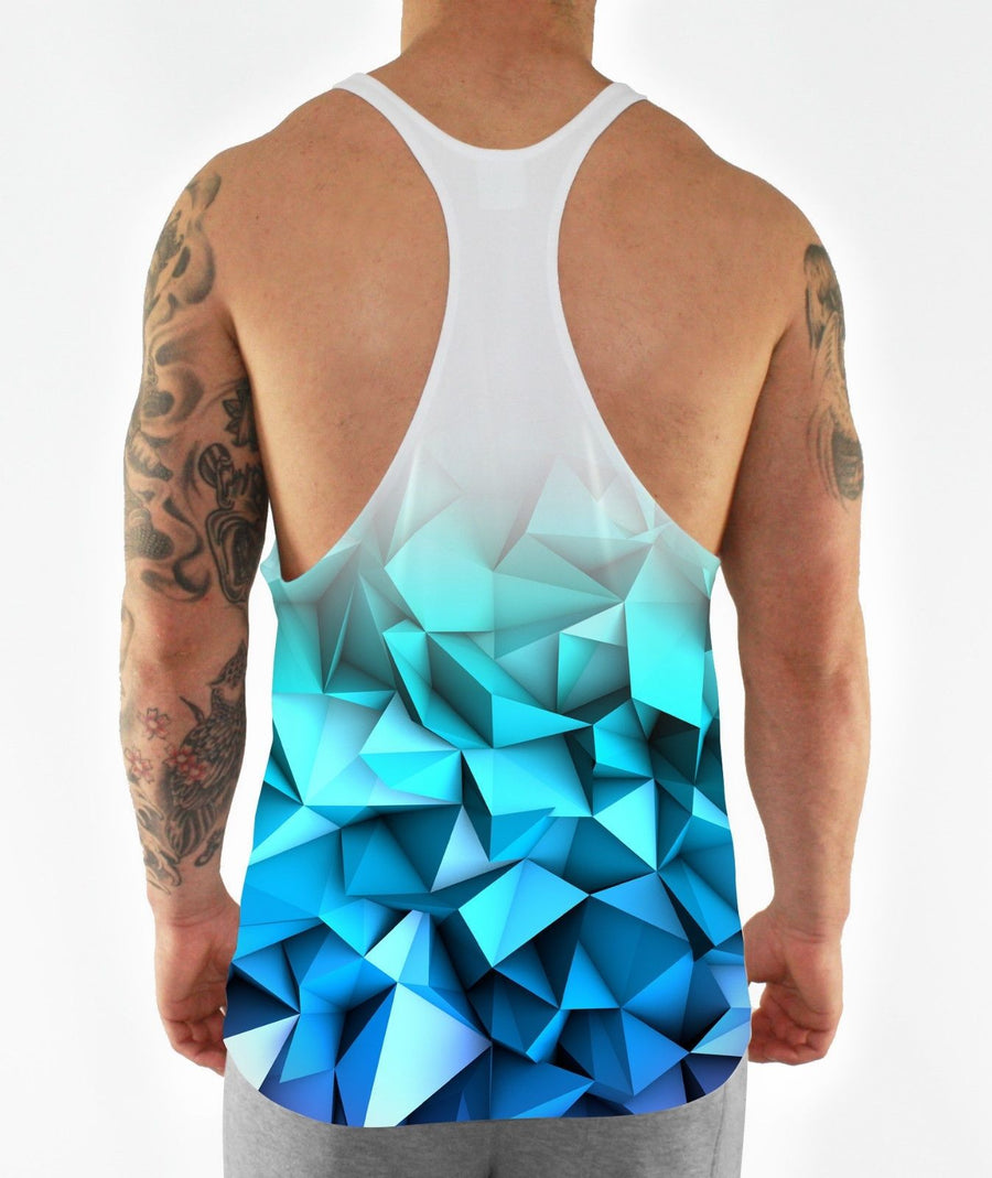 Blue Fade Geometric Bodybuilding Aesthetic Training Workout Muscle Stringer Vest