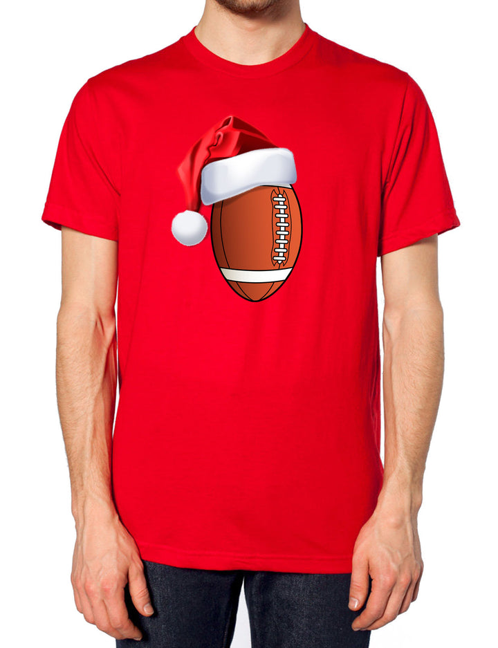 American Football Christmas Santa Hat T Shirt Sportsman Festive Party Novelty , Main Colour Red