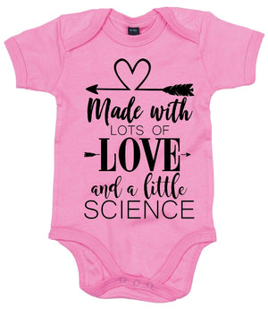 Made With Love And Science Babygrow Vest IVF Miracle Baby Babyshower Cute AS16