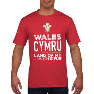Wales Cymru Land of my Fathers Rugby T Shirt Feathers Red Mens Womens Gift 852
