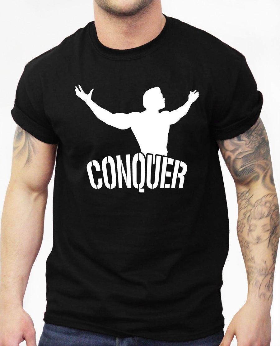 Conquer Arnie Tshirt MMA Fighting Cage Bodybuilding Top Squat Fitness Motivation