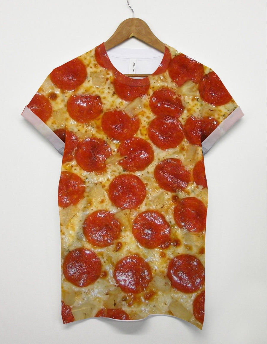 PIZZA ALL OVER PRINT T SHIRT MAN PEPPORONI FULL FOOD UNISEX SUMMER SWAG MEN GIRL
