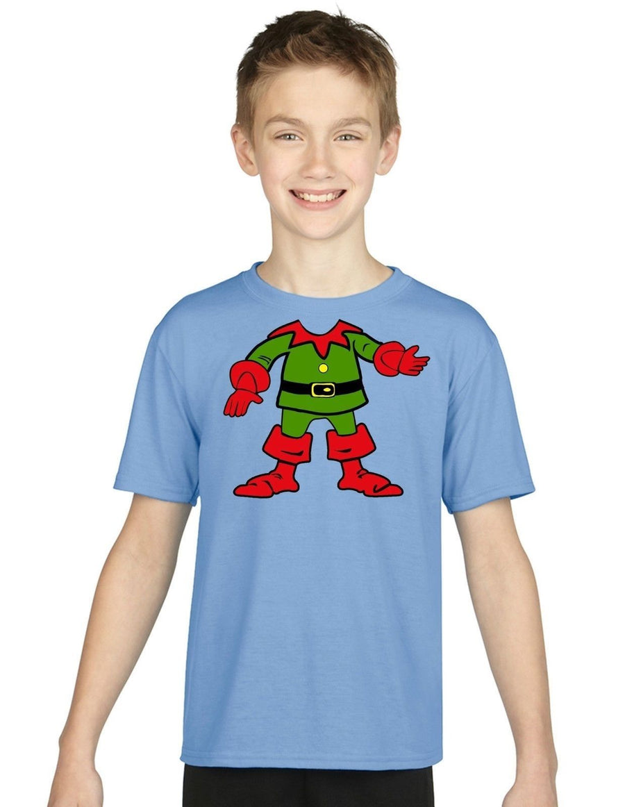 Children's Elf Neck T Shirt Elves Kids Funny Santas Helper Christmas Present