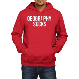Geography Sucks Funny mens HOODIE World Map Geek Hoody Womens School Top  E22