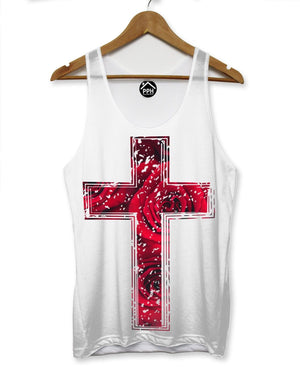 Red Rose Crucifix Vest Mens Sleeveless T Shirt  Religion Top Holiday Cross 121