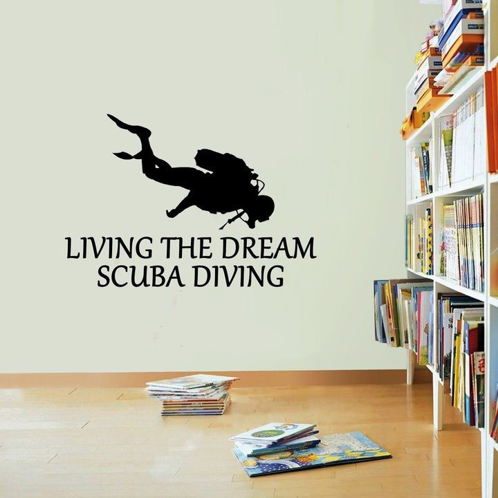Scuba Diving Sticker Living The Dream Diver Snorkel Wall Vinyl Print Decal Art