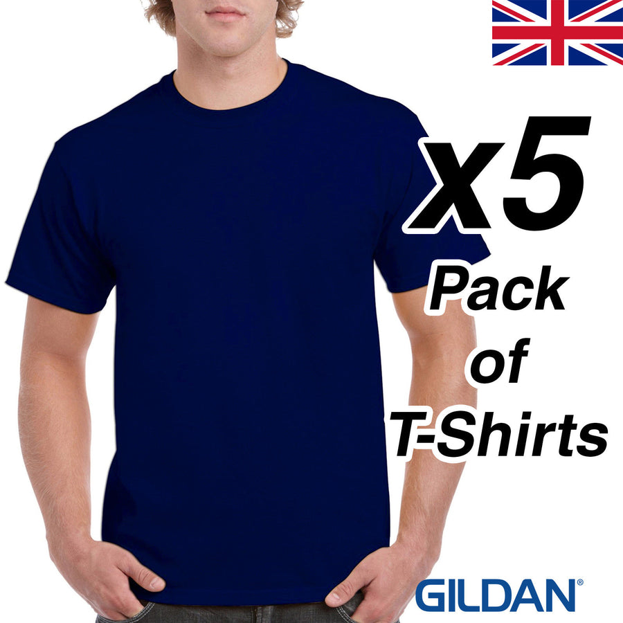 Mens Navy T Shirt 5 Pack Gildan Heavy Cotton Tee Top Plain Cheap Work Man UK New