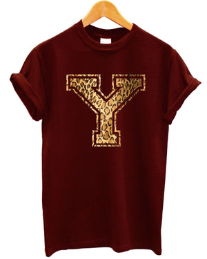 Y Leopard T Shirt Top Tee Mens Womens Kids Graphic Printed Clothing Urban Indie , Main Colour Maroon