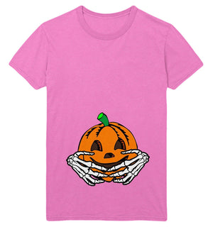 Halloween Maternity T Shirt Womens Pumpkin Baby Skeleton Hands Funny Costume Top, Main Colour Light Pink