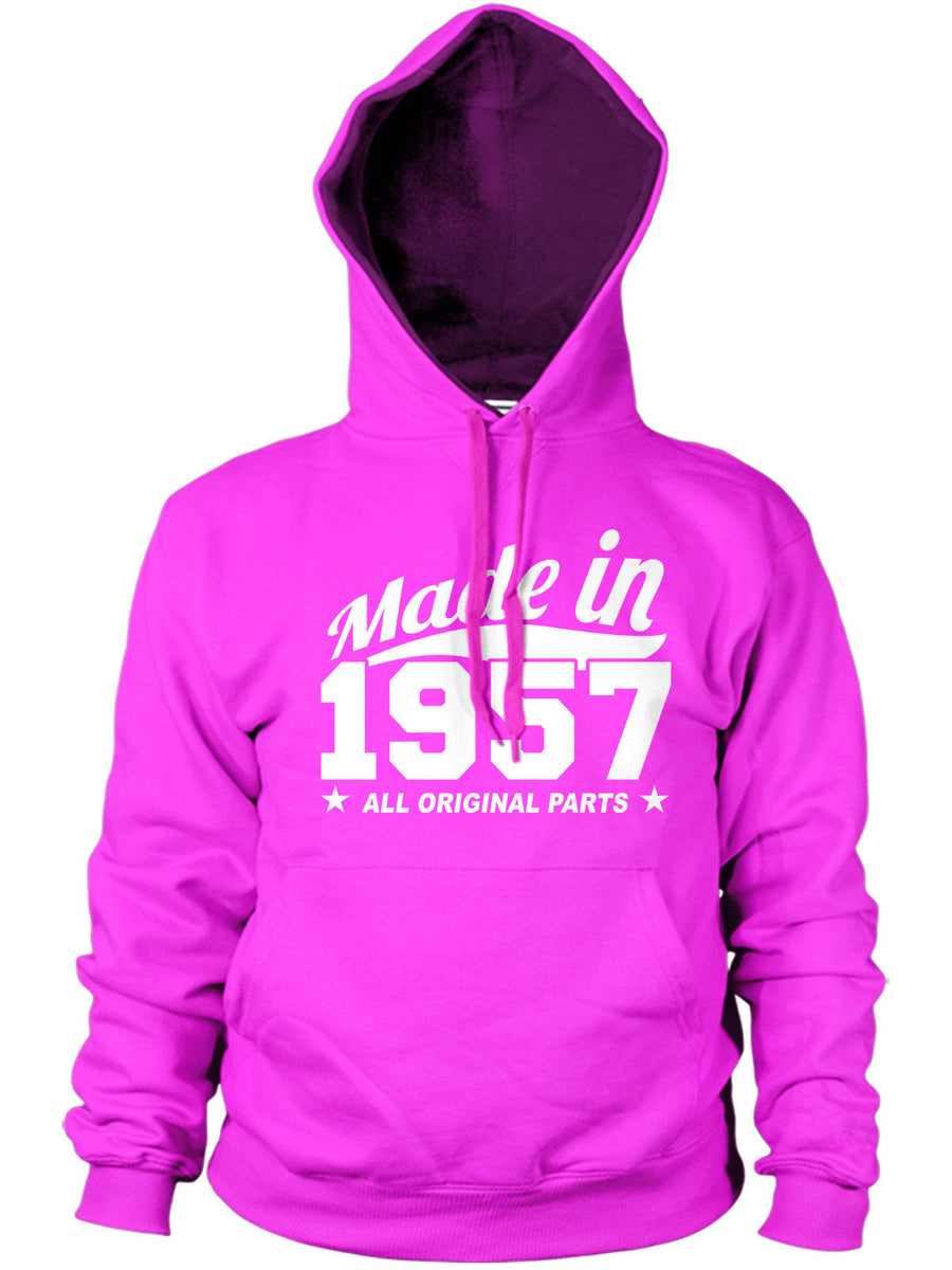 MADE IN 1957 ALL ORIGINAL PARTS HOODIE MENS WOMENS BIRTHDAY FUNNY COOL GIFT