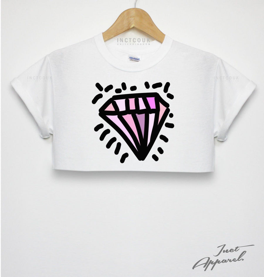 Diamond White Crop Top Sassy Girls Bloggers Tumblr Fashion Style Hipster